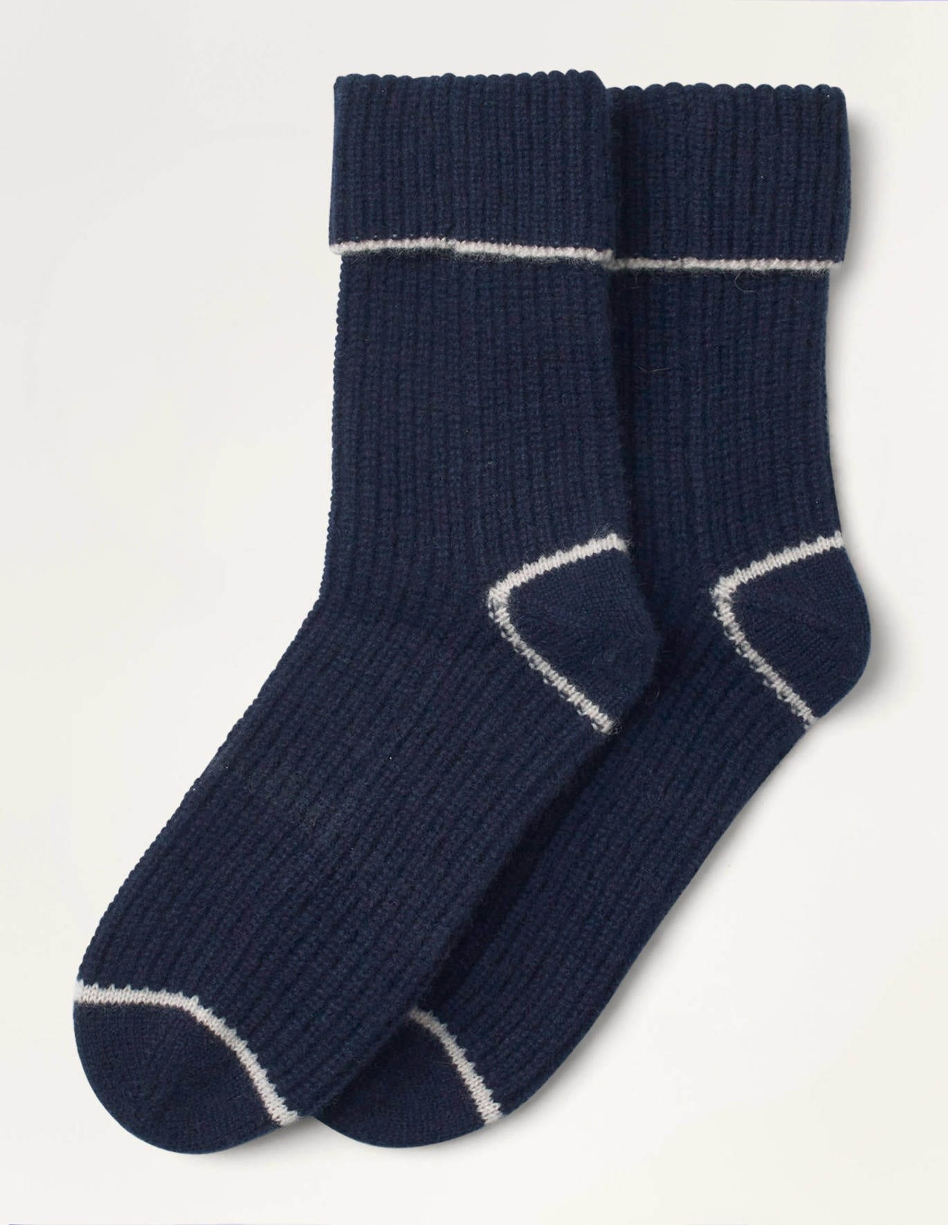 The navy socks with white trim