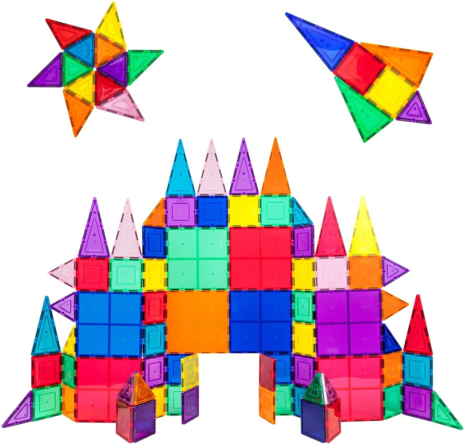A set of brightly colored magnetic building tiles constructed into a castle.