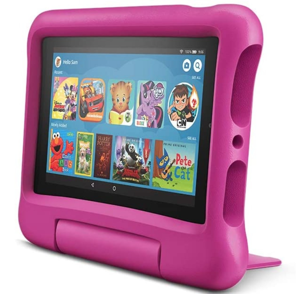 An Amazon Fire Tablet in a pink, kid-proof case.