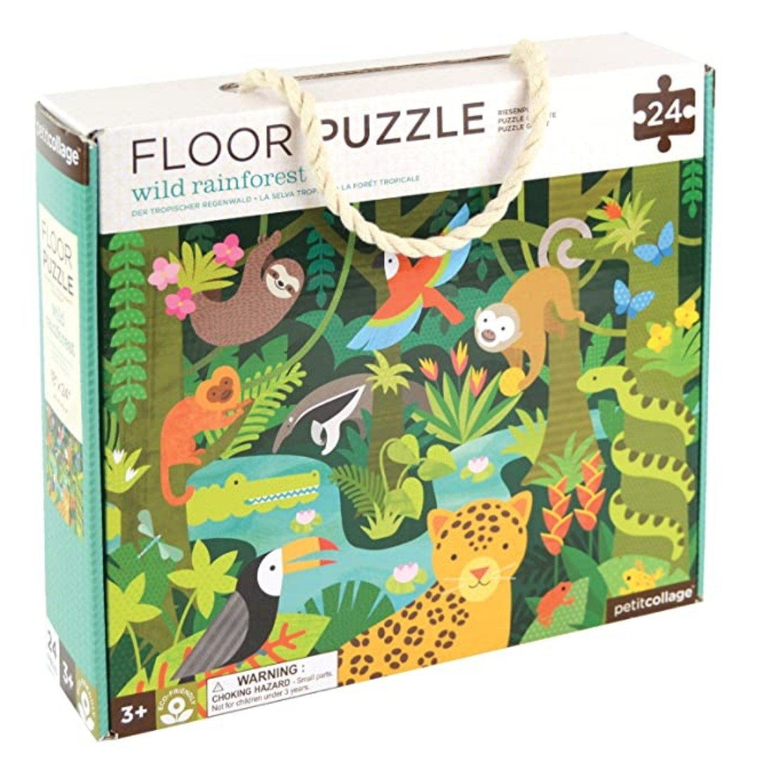 A 24-piece floor puzzle featuring an illustration of animals in the wild rainforest.