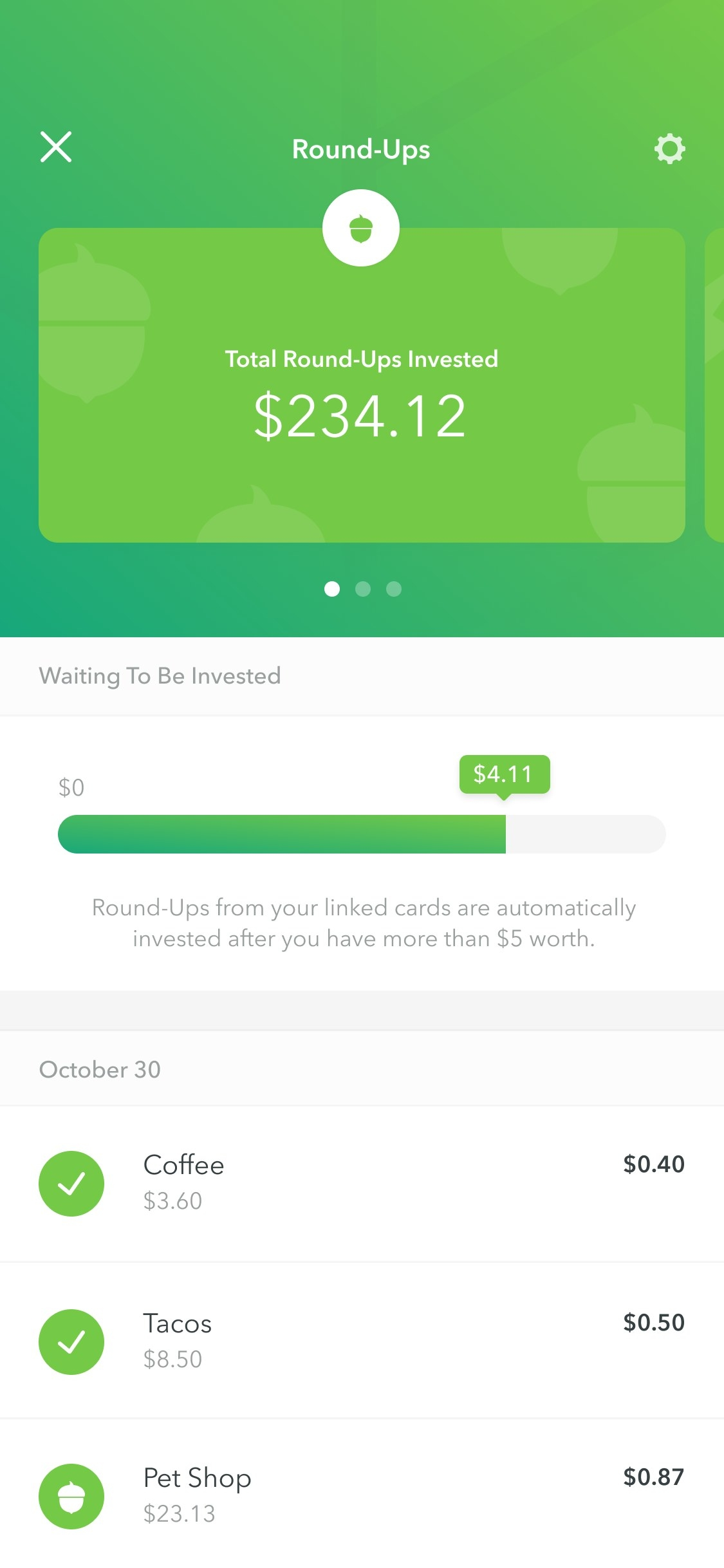 Acorns screenshot showing how you can easily round up spare change on your purchases to invest