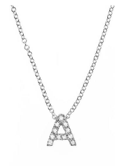 18K Gold Pave Diamond Initial Necklace