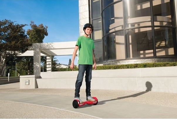The hoverboard in red, which can be ridden indoors or outdoors