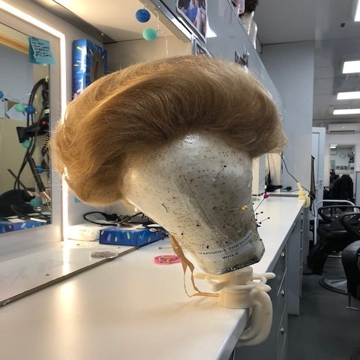 "A photo of one of the Margaret Thatcher wigs used on ""The Crown"""