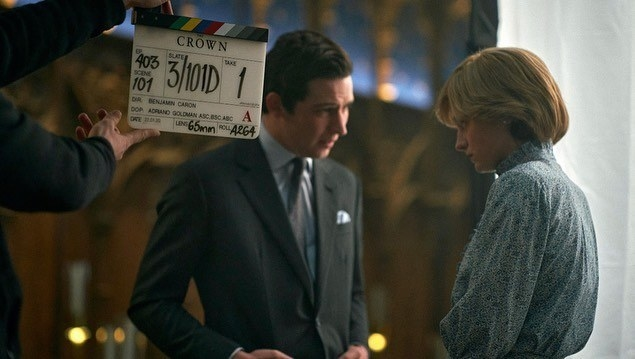 """Josh and Emma acting in a scene from """"The Crown"""""""