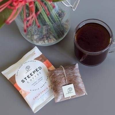 Coffee inside tea bag beside mug