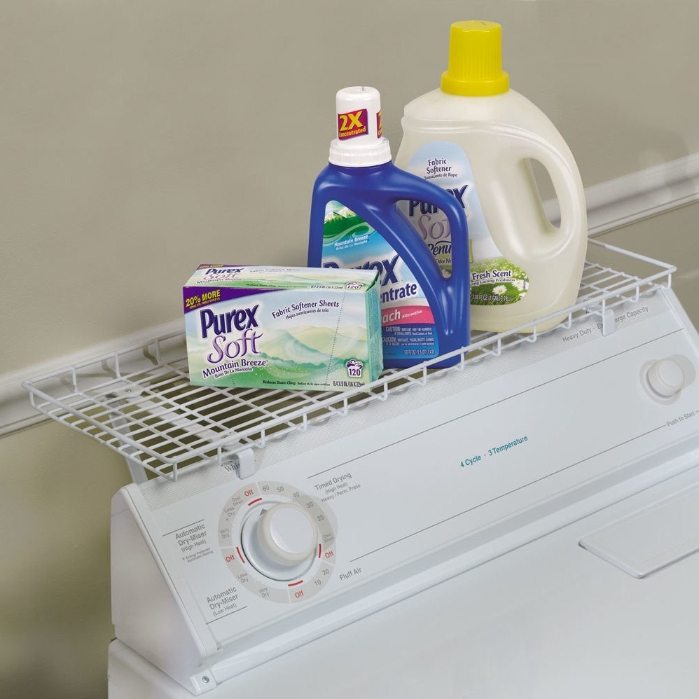 The white laundry room shelf
