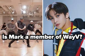 An image of WayV next to an image of Mark from NCT