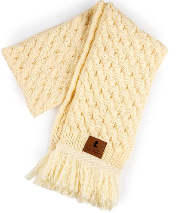 the cream-colored scarf with a St. Jude emblem on it