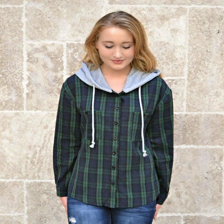 reviewer wearing hoodie in green plaid