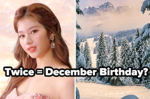 An image of Sana from Twice next to an image of a snowy mountain