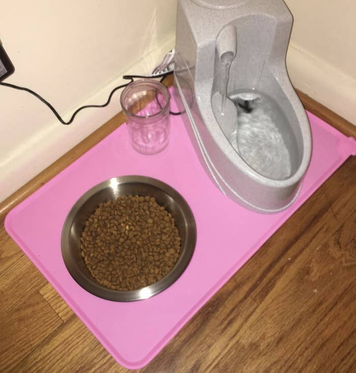 a hot pink silicone mat in the shape of a rectangle under a food bowl and water fountain