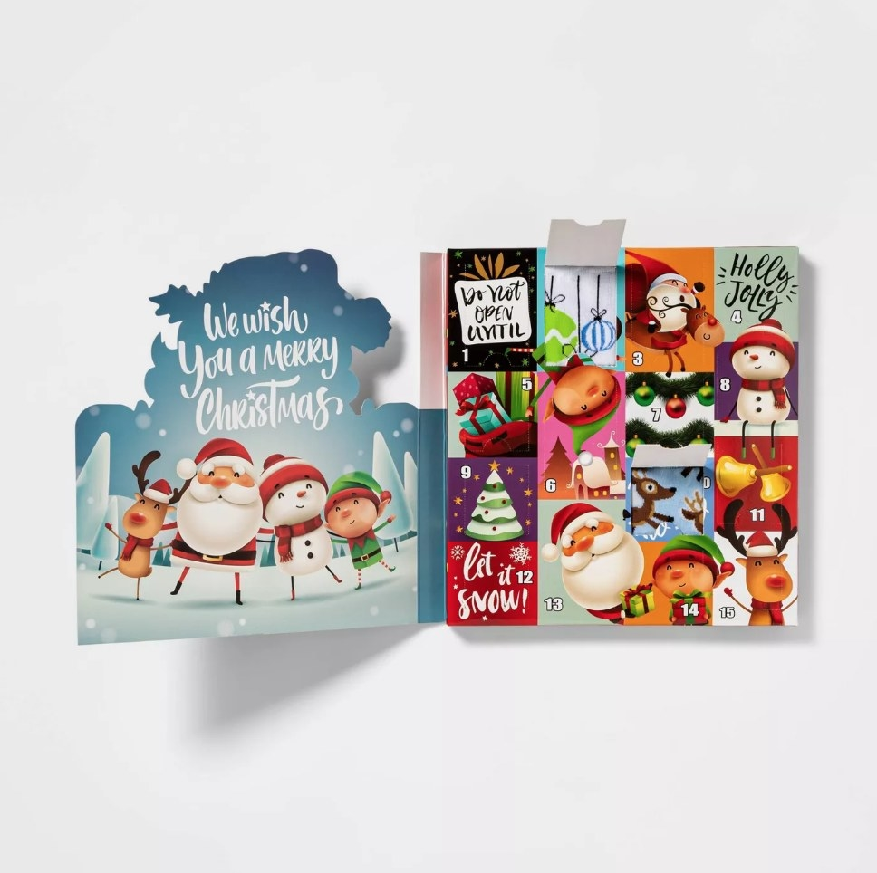 The festive advent character with cartoon santas and elves