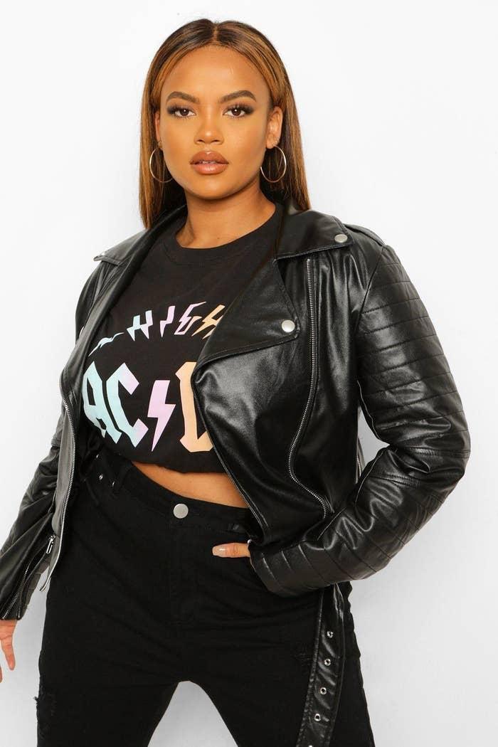 Model wearing leather jacket
