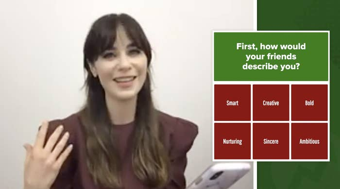 """Zooey Deschanel taking the """"Which Elf Character Are You?"""" quiz."""