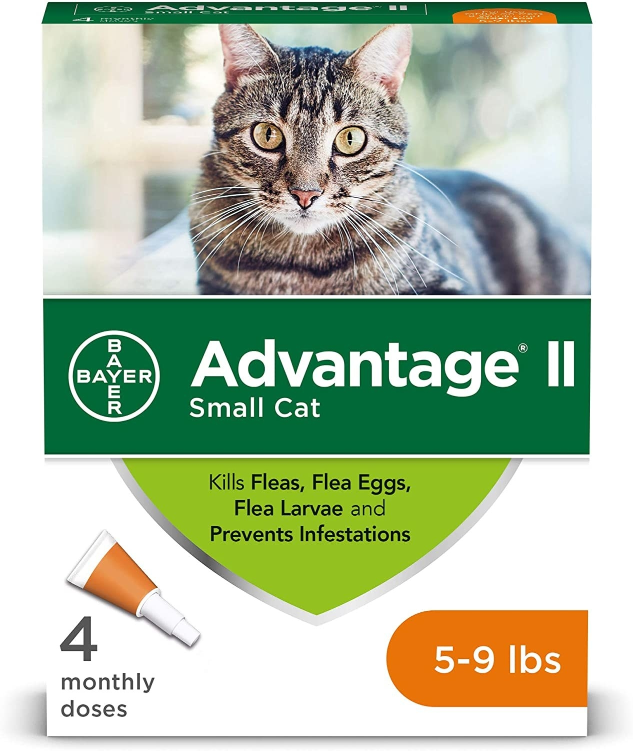 a green and white box of flea treatments with 4 monthly doses suitable for cats 5-9 lbs