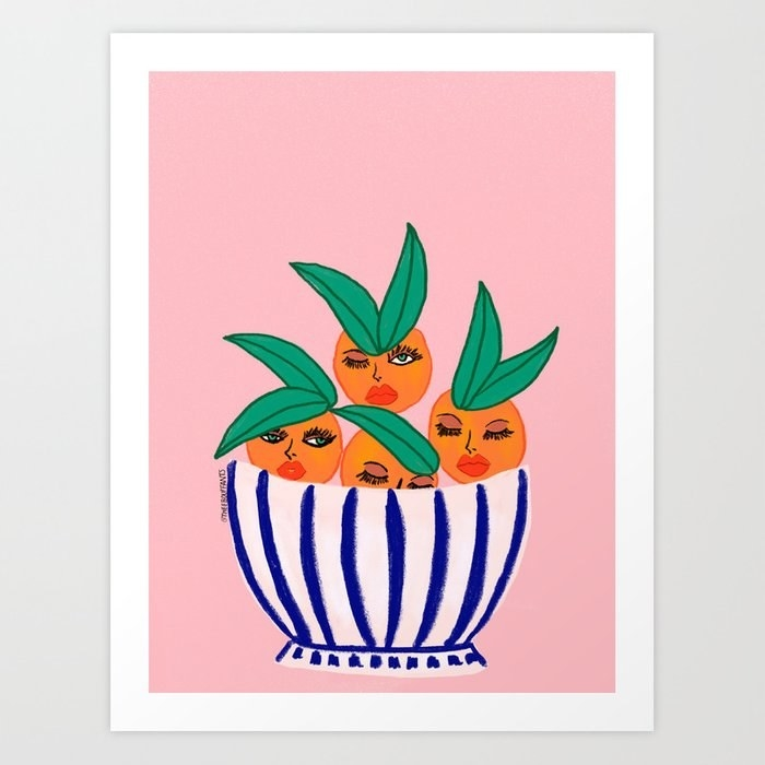 a drawing of oranges in a bowl and the oranges have fierce faces