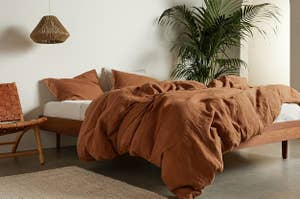 a burnt orange bedding set