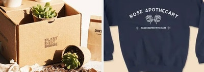 On the left, a gift box of succulents. On the right, a Rose Apothecary sweatshirt
