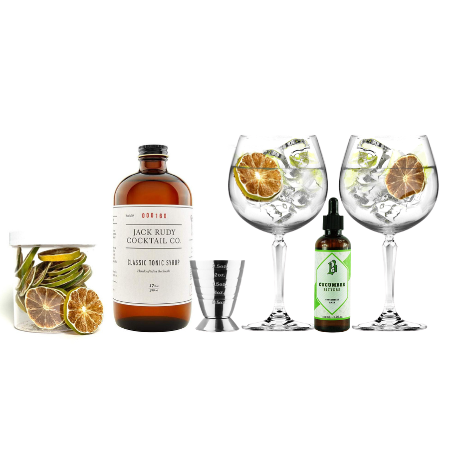 A sample cocktail kit with glassware, and tonic syrup.