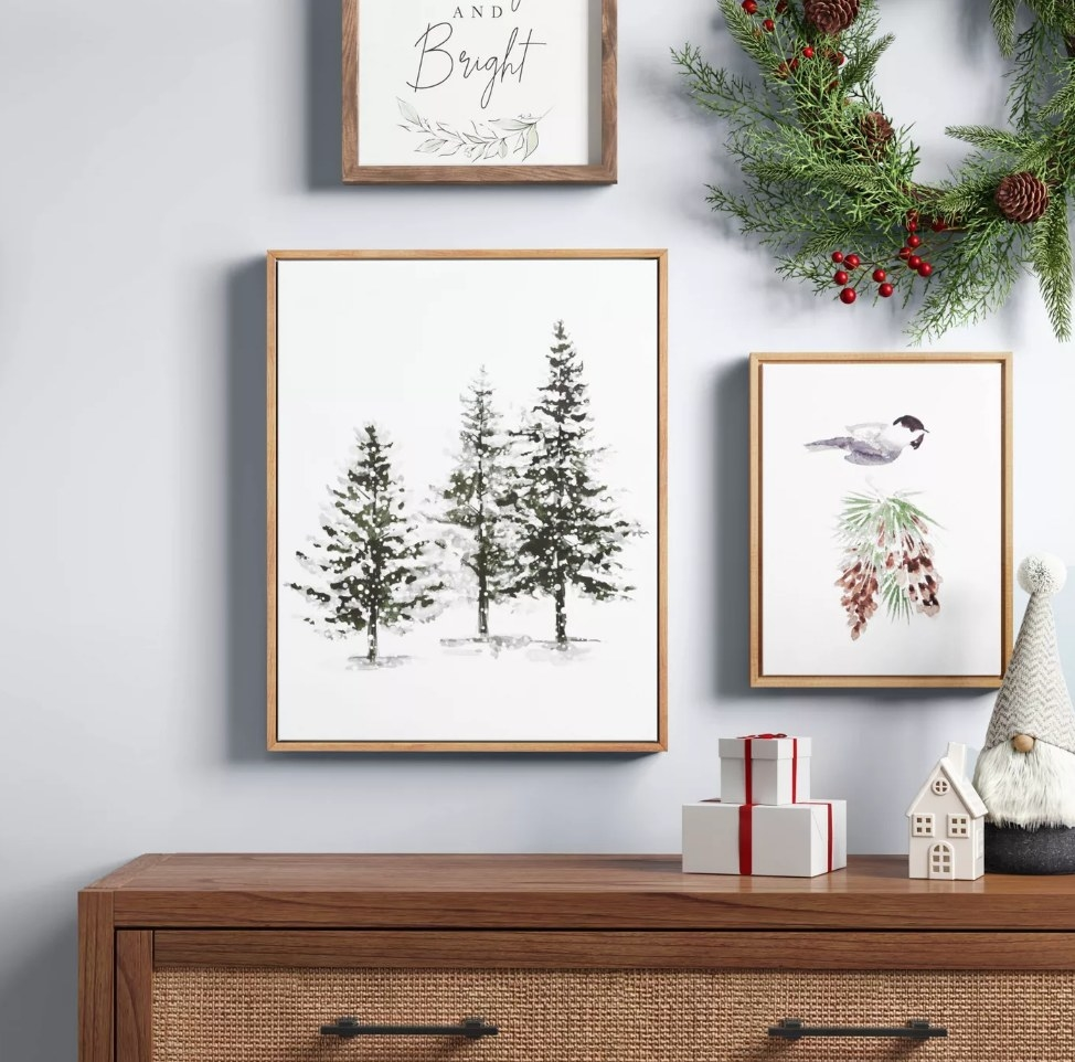 Wooden picture frame with Evergreen tree art