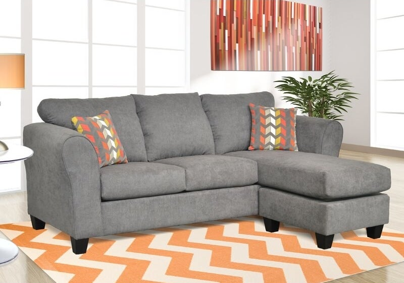 The sectional with the ottoman on the right side in capstone steel