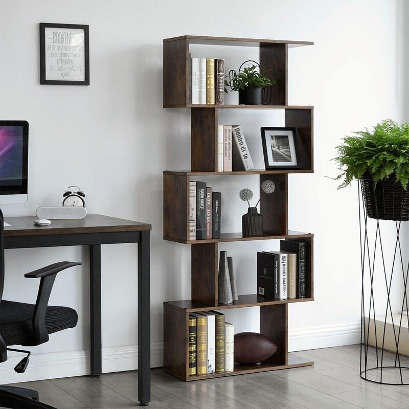 The bookshelf in brown