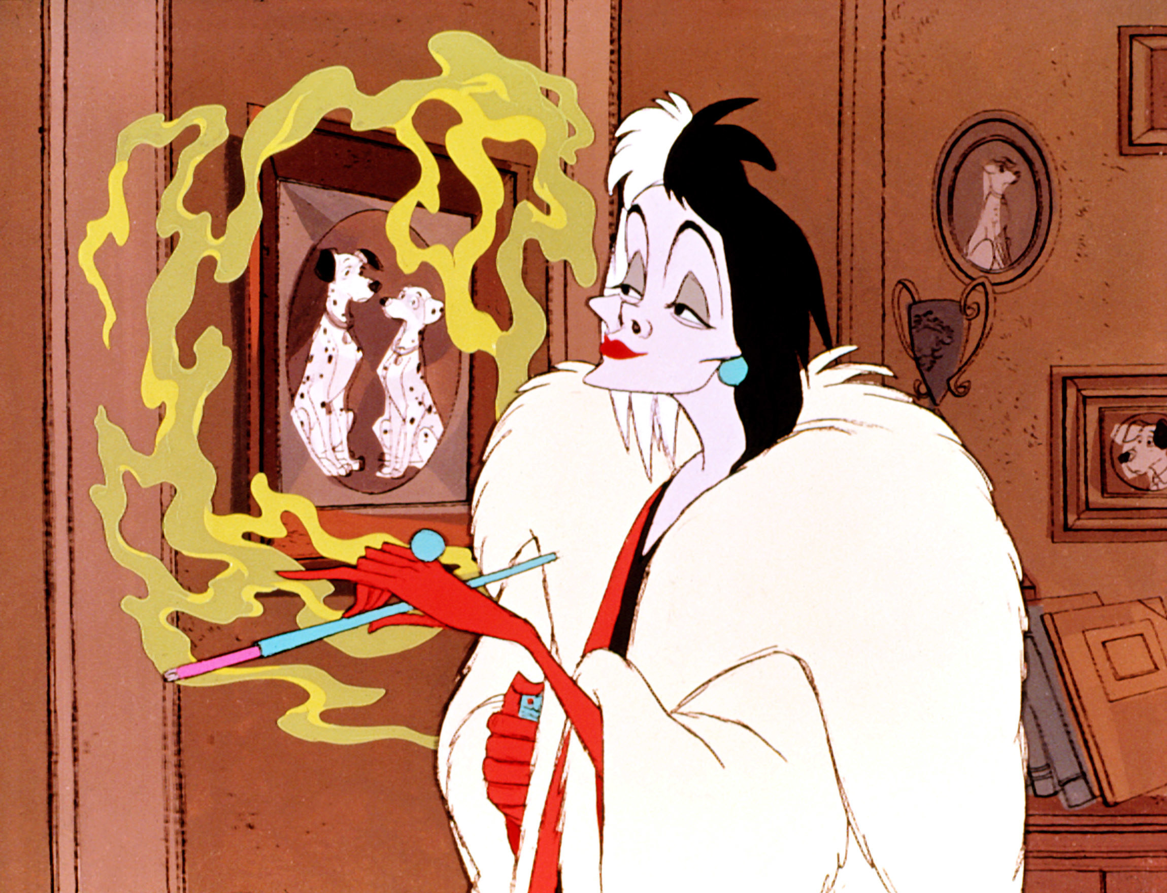 "Betty Lou Gerson as Cruella De Vil in the movie ""101 Dalmatians."""