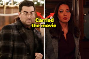 Aubrey Plaza as Riley Johnson and Dan Levy as John in the movie