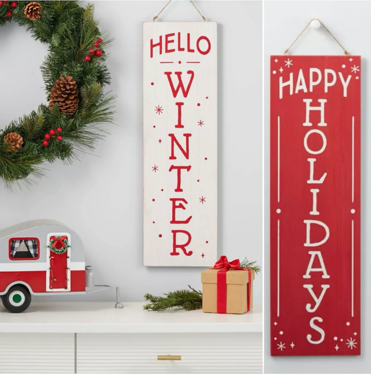 """""""Hello Winter"""" on white sign of sign, """"Happy Holidays"""" on red sign of sign"""