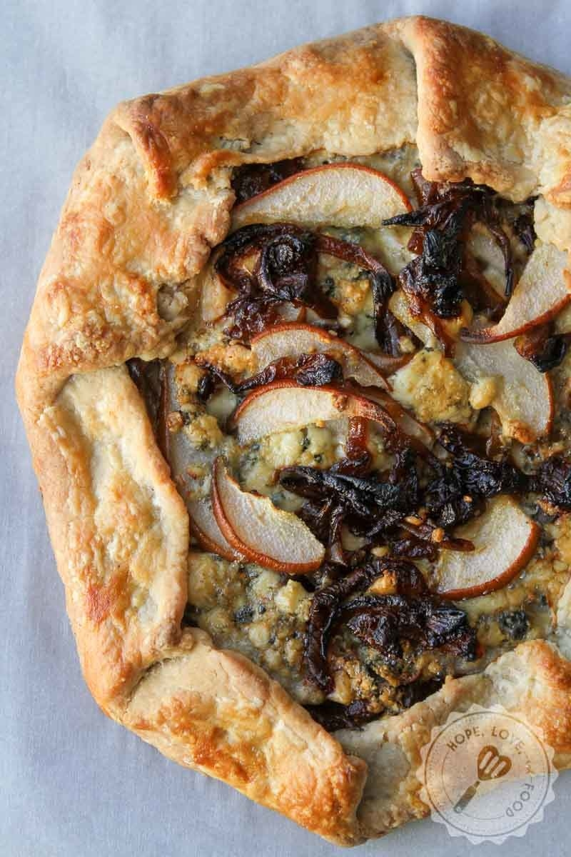 A savory galette with pears, caramelized onion, and gorgonzola cheese.
