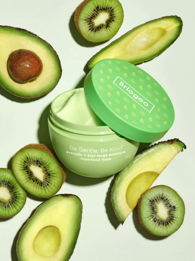 Product shot of Briogeo Be Gentle, Be Kind Avocado + Kiwi Mega Moisture Superfood Mask.