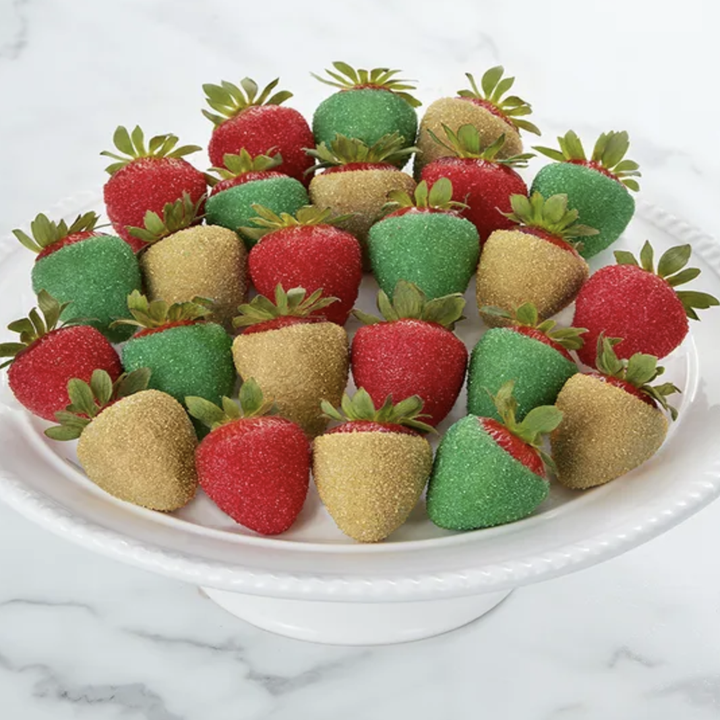 strawberries dipped in sparkle sugar