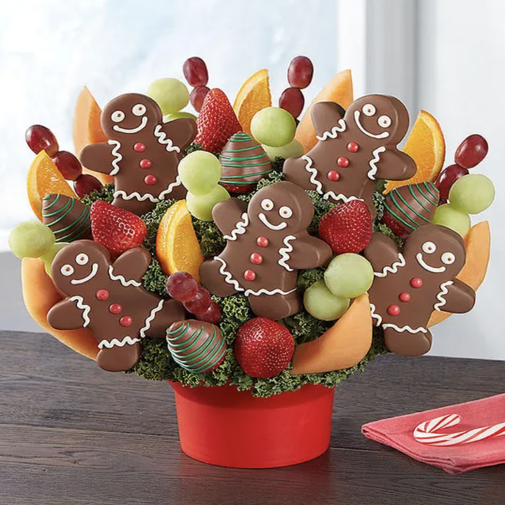 fruit basket with chocolate gingerbread man shaped pineapples
