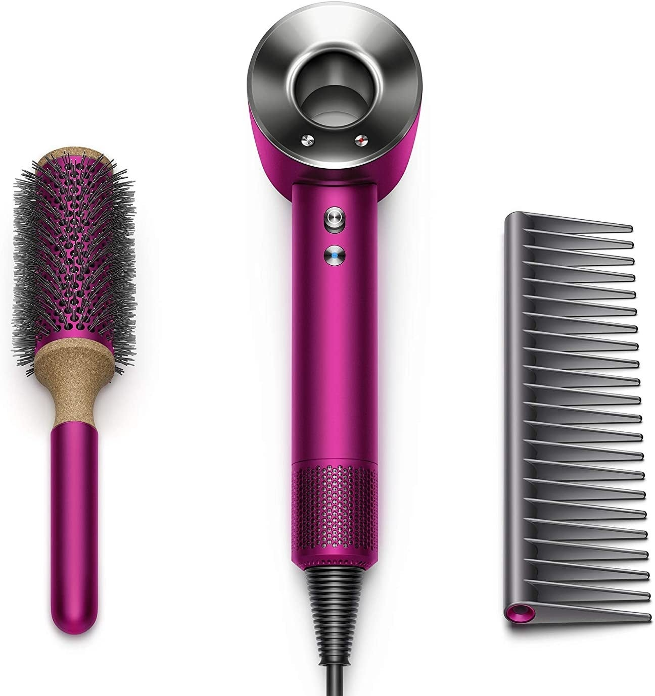 blow dryer, vented round brush, and comb