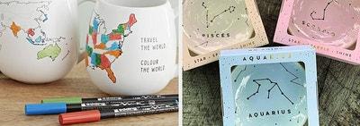 a map mug and zodiac sign dish ring