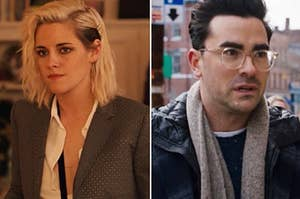 Kristen Stewart and Dan Levy as Abby and John in Happiest Season