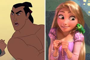 """On the left, Li Shang from """"Mulan,"""" and on the right, Rapunzel with Pascal on her shoulder in """"Tangled"""""""