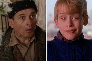 "Harry from ""Home Alone"" is making a funny face with Kevin McCallister smiling on the right"