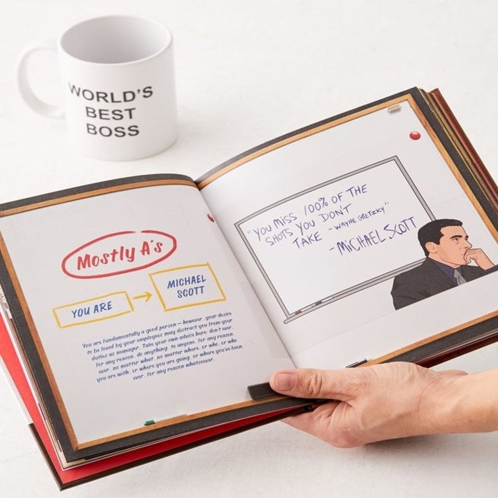 book open to a page about Michael Scott