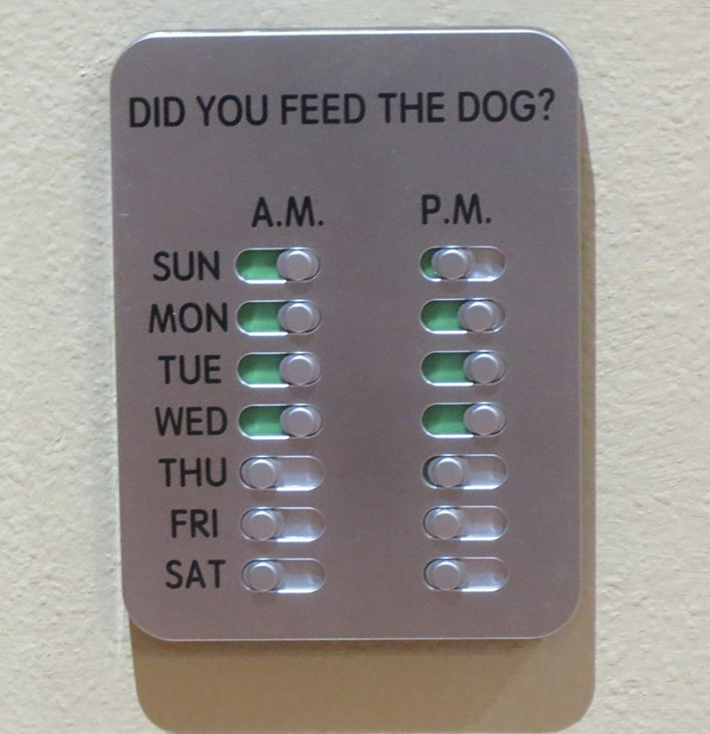 """Reviewer photo of the reminder with daily slots to answer yes or no to """"did you feed the dog"""""""