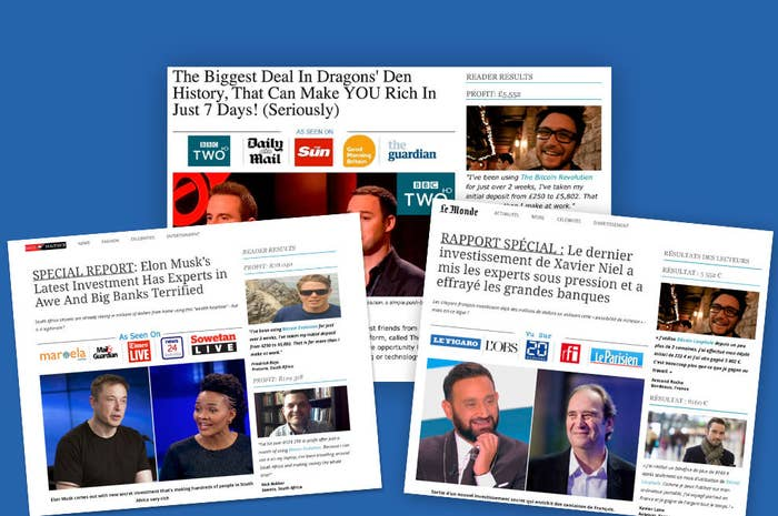 Images of webpages that use the photos of celebrities to promote investment schemes.