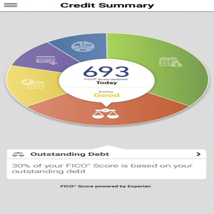 """Screengrab of the Experian app showing a """"good"""" credit score of 693"""