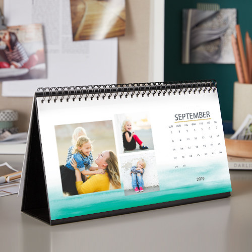 Daily calendar opened to reveal custom photo template