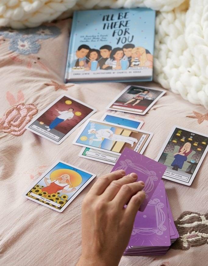 Friends book and assortment of tarot cards