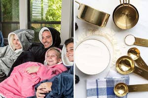 family in oversized blanket hoodies; shiny gold measuring cups and spoons