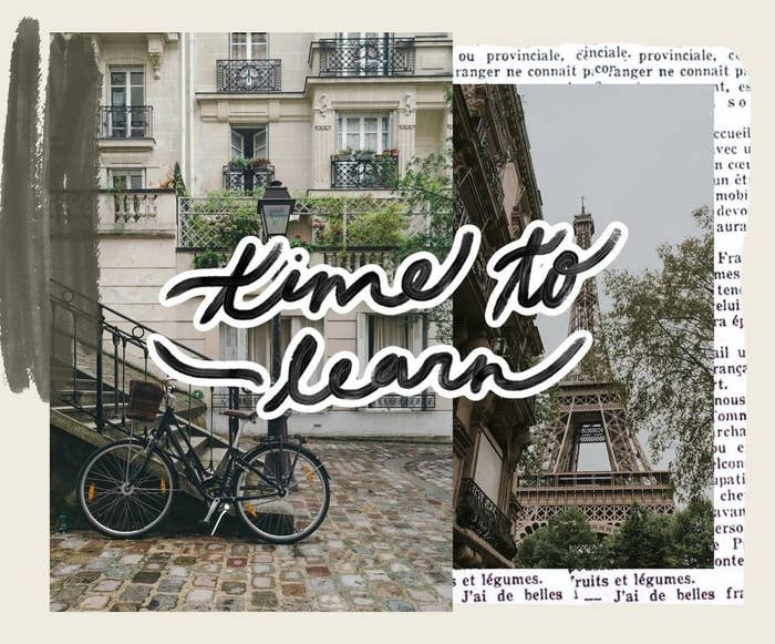 """a collage of two different pictures, a building with a bike and the Eiffel tower, with """"time to learn"""" written across the graphic"""