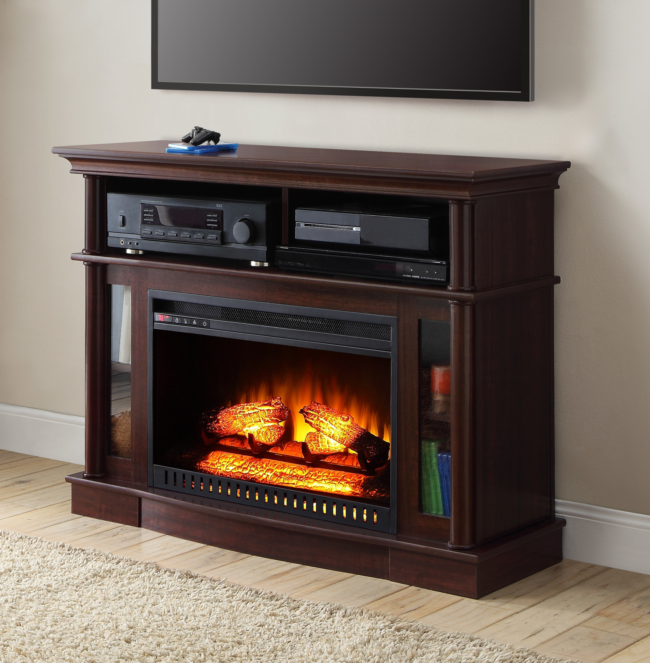 A fireplace console