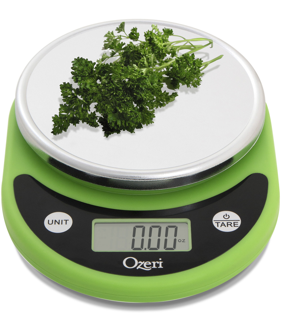 Green kitchen scale with silver covered weighing platform and parsley