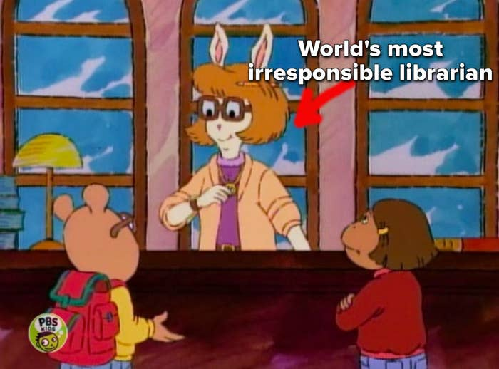 """Arthur and Francine talking to Ms. Turner at her desk, captioned, """"world's most irresponsible librarian"""""""